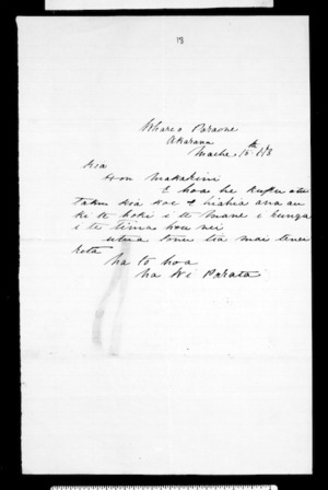 Letter from Wi Parata to McLean