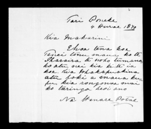 Letter from Henare Potae to McLean