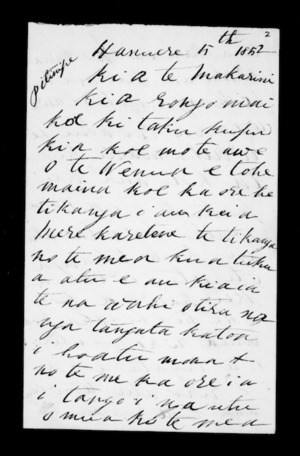 Letter from Ropata Ngarongomate to McLean
