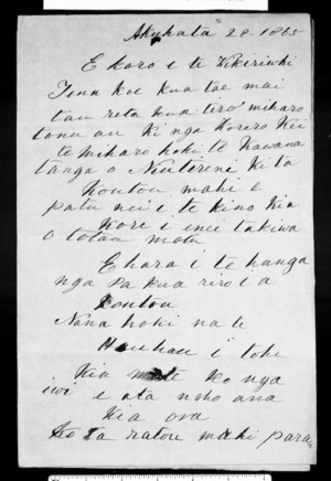 Copy of letter from McLean to Wikiriwhi