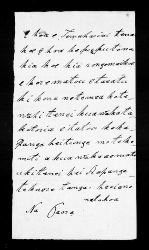Undated letter from Paora to McLean