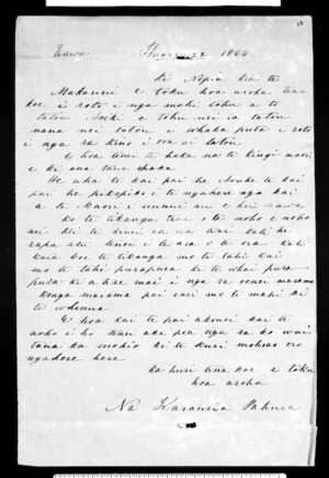 Letter from Karauria Pahura to McLean