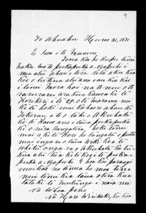 Letter from Hare Wirikaki to Frederick Manning