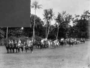 Captain Anderson and his artillery in Samoa during WWI