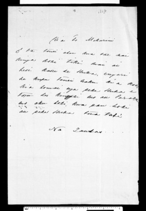 Letter from Ngatuere to McLean