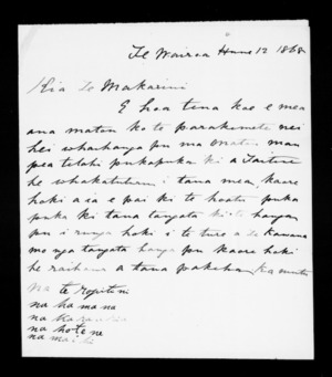 Letter from Te Ropitini and others to McLean