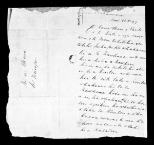 Letter from Ihaia to Hare, Parete and Te Kati (with translation)