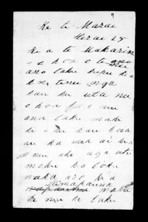 Undated letter from Komene Reweti (Te Marae Hurae) to McLean