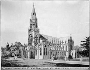 Clere, Frederick de Jersey 1856-1952 :Proposed remodelling of St. Paul's Procathedral, Wellington, N.Z. Clere (F.R.I.B.A.) and Clere (F.N.Z.I.A.) Archts. 1931.