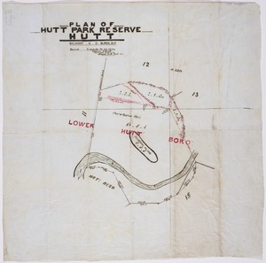 Buck, William Seldon, 1846-1919 :Plan of Hutt Park reserve, Hutt, Belmont S.D., Block XIV [ms map]. William S. Buck, Licensed surveyor, Lower Hutt, Feb 1911