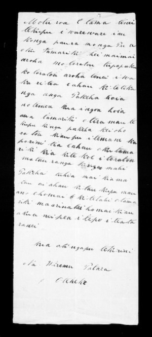 Undated letter from Wiremu Patara to McLean