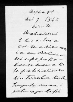 Letter from Nikora Te Wakaunua to McLean
