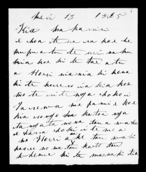 Letter from Rangiawe Tuhua to McLean
