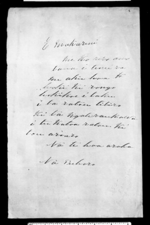 Undated letter from Tuhoro to McLean