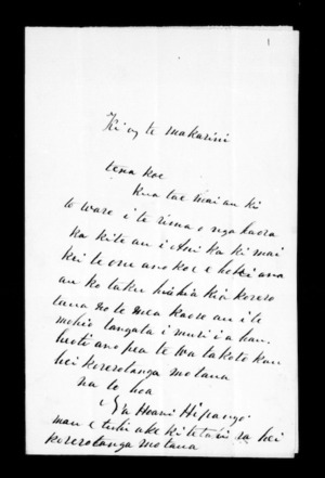 Undated letter from Hoani Hipango to McLean