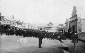 Miners queue to enter their union hall, during the Waihi strike