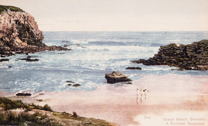 [Postcard]. Ocean Beach, Dunedin, a summer seascape / [photographer] Guy. [ca 1910].