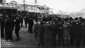 Miners outside their union hall, during the Waihi strike