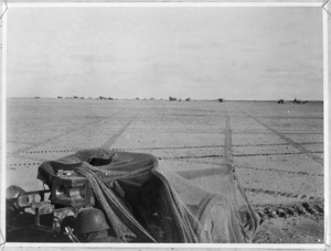 German anti-aircraft gun, and aerodrome, Western Desert, North Africa, during World War