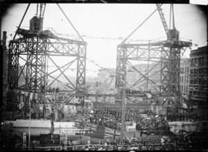 Construction site of the new General Post Office, Auckland, and foundation stone ceremony