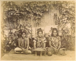 Three Samoan women preparing to make kava