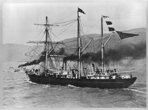 The ship Nimrod leaving Lyttelton to collect members of the British Antarctic Expedition 1907-1909