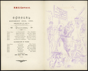 [New Zealand Shipping Company Limited] :R.M.S. Gothic. Concert October 12th, 1901. Programme [and] Soames Island / C.K.S [cartoon].