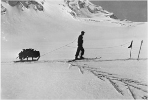 Sledging into a high camp, Godley Glacier, Canterbury - Photograph taken by C E Smith
