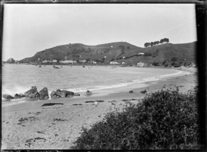 View across the bay to the fishing village at Moeraki, circa 1925.