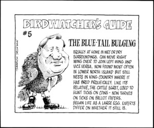 Tremain, Garrick, 1941- :Birdwatcher's Guide #5. The Blue-Tail Bulging. Otago Daily Times. 27 November, 1990.