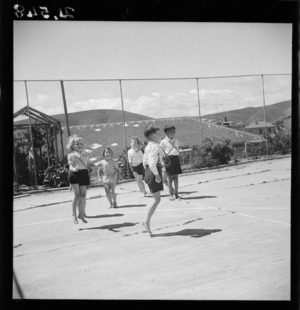 Primary school children in Plimmerton, during a physical education class