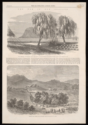 Various artists :The war in New Zealand. The cemetery at Tauranga, with the graves of the officers and soldiers killed at the Puke Wharangi Pah; Orakau Pah, taken by the British troops on the 2nd of April. The Illustrated London news, July 30, 1864, [page] 129.