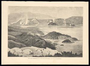 Musee universel (Paris) :Les eaux chaudes de la Nouvelle-Zelande - Le lac de Rotomahana. H Harral sc. [1873-1879?]