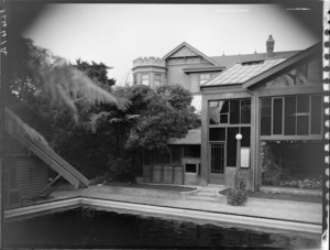 View from swimming pool of conservatory and house, Homewood, Karori, Wellington
