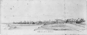Browning, John Samuel, 1831-1909 :Gibson's Quay, Hokitika, Westland, N.Z. / J S B. - 1869.