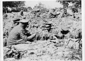 Soldiers playing cards in the trenches at Gallipoli, Turkey