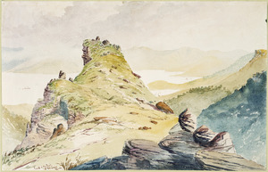 Hodgkins, William Mathew 1833-1898 :Back of the peak, Mt Brazenose, Akaroa. [1868 or 1869?]