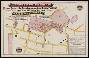 The Riwhe estate, Island Bay : plan of seventy one noble residential villa building sections to be sold / [surveyed by] W.O. Beere.