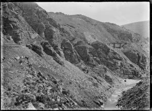 Taieri Gorge, near Dunedin, Otago, with railway line coming through an area known as The Notches