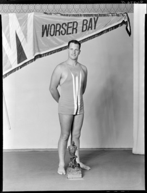 Surf Life Saver, Mr J W B Davenport, [Worser Bay Club?], Wellington, winner of the Cook Strait trophy