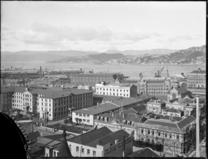 Part 1 of a 3 part panorama showing Wellington city buildings