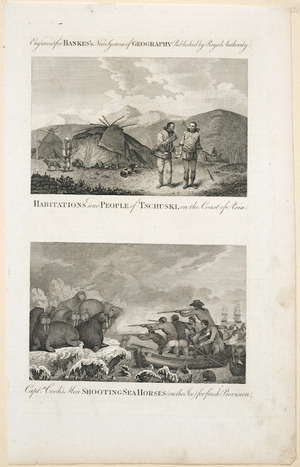 [Webber, John], 1751-1793 (after) :Habitation and people of Tschuski on the coast of Asia; [and] Captn Cook's men shooting sea horses (on the ice) for fresh provision. Engraved for Bankes's new system of geography, published by royal authority [1787-1790]