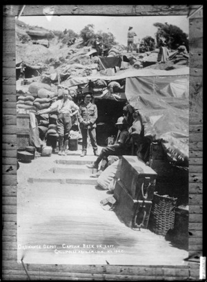 Captain Beck at an ordnance depot at Shrapnel Gully, Gallipoli, Turkey - Photograph taken by J M
