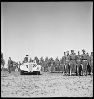 Winston Churchill inspecting units of the New Zealand Division, outside Tripoli, Libya, during World War 2 - Photograph taken by H Paton