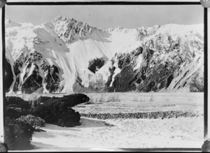 Creator unknown : Scene with snow covered mountains, MacKenzie district, Canterbury
