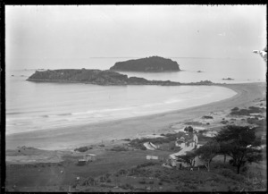 Part one of a two-part panorama of Mount Maunganui, showing Ocean Beach with Moturiki Island and Motuotau Island, 1924.