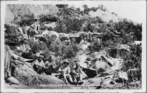 Indian bivouacs on a hillside at Anzac Cove