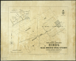 Plan of part of Hinds township & Hinds village homestead special settlement [cartographic material] : Hinds survey district / L.O. Mathias, assistant surveyor, Novr. 86.