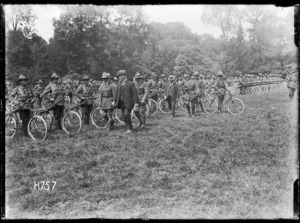 Inspection of the New Zealand Cyclist Battalion by William Massey and Joseph Ward, France
