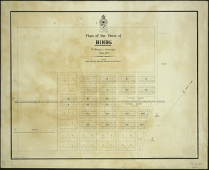 Plan of the town of Hinds [cartographic material] / W. Harper, surveyor, Jan. 1879.